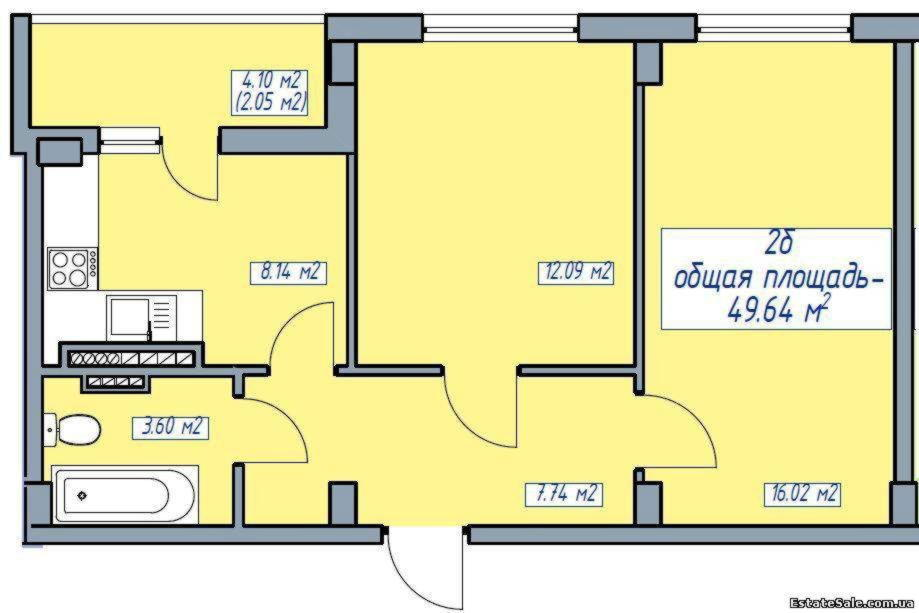 2-к квартира, 49.6 кв.м., 5/5 эт. в москве по цене 2 455 000.